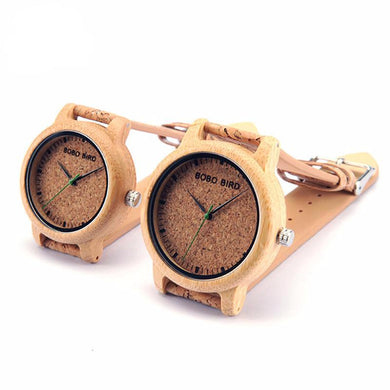 Bamboo Luxury Wrist Watches with Cork Band for Men Women