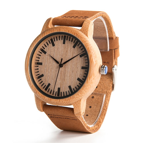 Men's High Quality Bamboo Wooden Wristwatch with Brown Leather Band