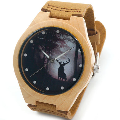 Men's Maple Wood Watch Winter Reindeer in Gift Box