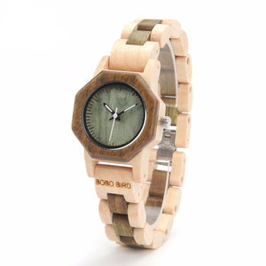 Ladies Hexagonal Case All Wood Dress Watch in Gift Box