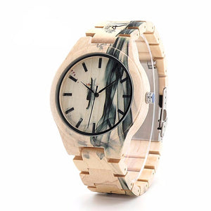 Mens Ink Landscape Painting Maple Luxury Wood Watch
