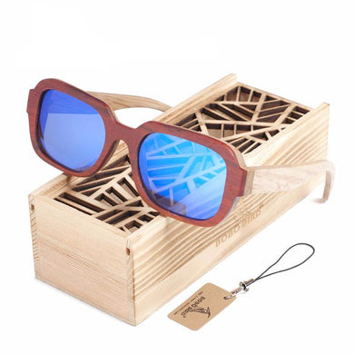 100% Natural Wooden Sunglasses Men's Luxury Brand Designer Square Polarized Sun Glasses Vintage