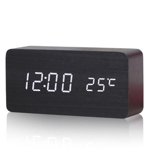 Modern Wooden LED Alarm Clock with Temp Display