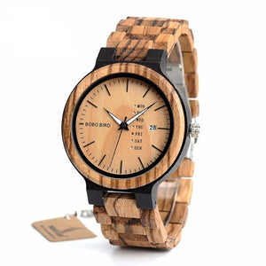 Men's Zebra Wood Dress Wrist Watch with Wood Band
