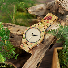 Flower Print Designer Wooden Watch