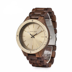 Men's Luxury Handmade Wood Dress Wristwatch with Steel Fashion Dial