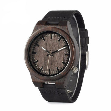Men's Luxury Black Wooden Watch with Leather Strap
