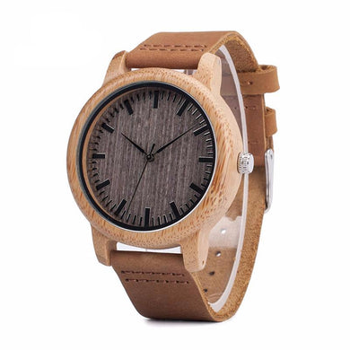 Mens Casual Bamboo Quartz Wristwatch Leather Strap