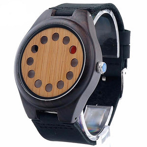 Men's 12 Holes Designer Wooden Watch with Brown Leather Band in Gift Box