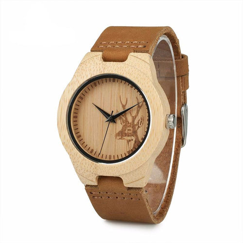 Deer Head Design Bamboo Wooden Watch With Brown Leather Strap