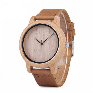 Men's Casual Wooden Watch with Leather Strap