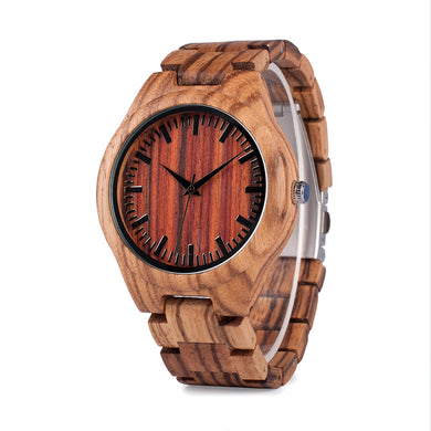 Men's Zebra Designer Red Wooden Wristwatch with Leather Strap