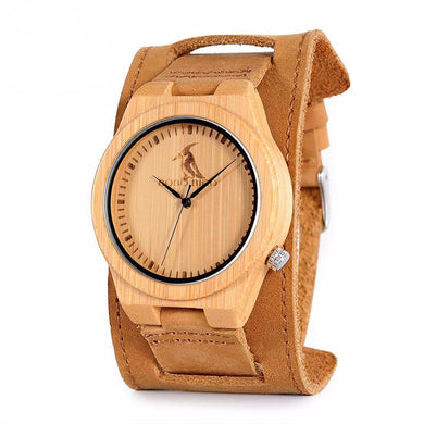 Mens Bamboo Dial Brown Leather Quartz Watch in Gift Box
