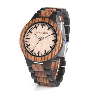 Wood Luxury Watch with Two Colors Wooden Strap