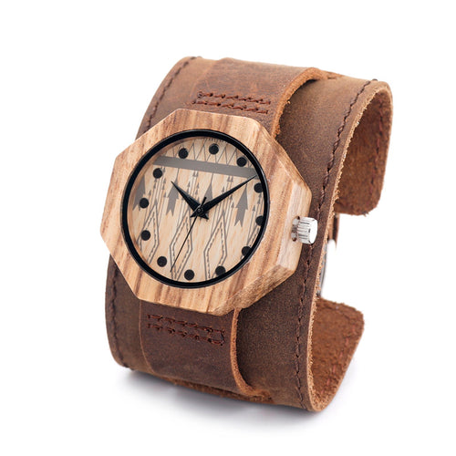 Ladies Octagon Luxury Wooden Watch with Leather Band in Gift Box