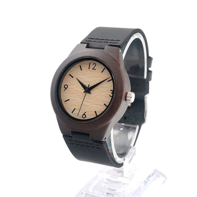 Ladies Delicate Ebony Wooden Watch with Black Leather Strap