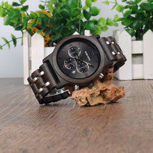 Men's Wood Watch Business Luxury with Wood/Stainless Steel Band
