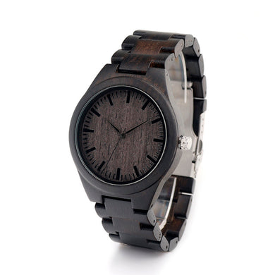 Men's Sandalwood Wood Watch Black Dial