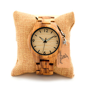 Men's Zebra Wooden Wristwatch with Wooden Strap or Leather Strap