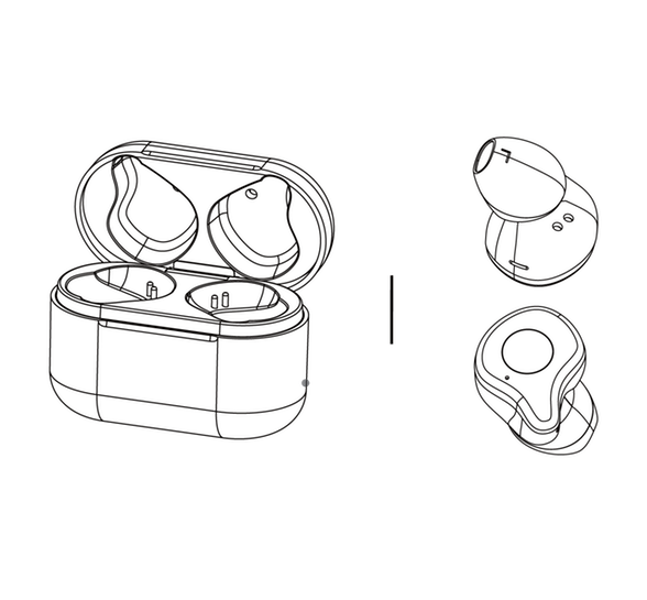 diagram drawing of the raycon e70 pro true wireless earbuds
