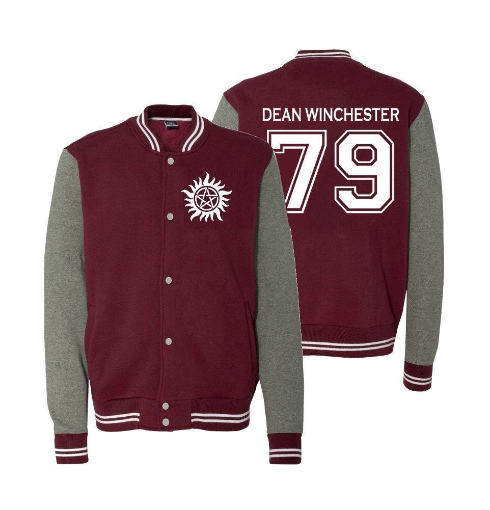Supernatural Jacket, Dean Winchester 79 Fleece Letterman Jacket, Saving People Hunting Things