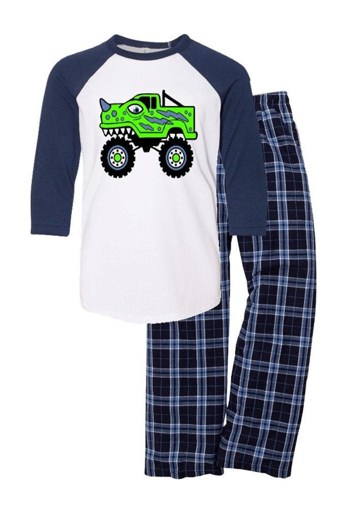 Boy's Monster Dinosaur Flannel Pajamas Loungewear Set, Gift for Boys, Boy's Flannel Pajamas
