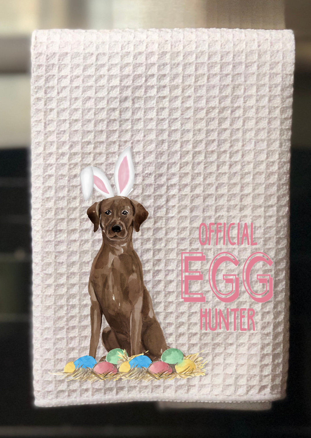 "Chocolate Labrador Retriever Official Egg Hunter Easter Kitchen Waffle Towel -15""x25"", Hostess Gift, Spring Towel"