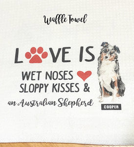"PERSONALIZED Love is Wet Noses Sloppy Kisses and an English Bulldog WAFFLE or PLUSH Kitchen Towel -15""x25"", Housewarming Gift, Hostess GIft"
