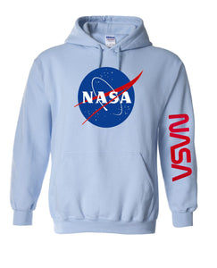 NASA Meatball Insignia Hoodie, Space NASA Hooded Sweatshirt, NASA Logo on Sleeve, Youth and Adult Sizes