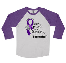 Alzheimer's Awareness Shirt I Wear Purple - Customize - Baseball Style Triblend T-Shirt
