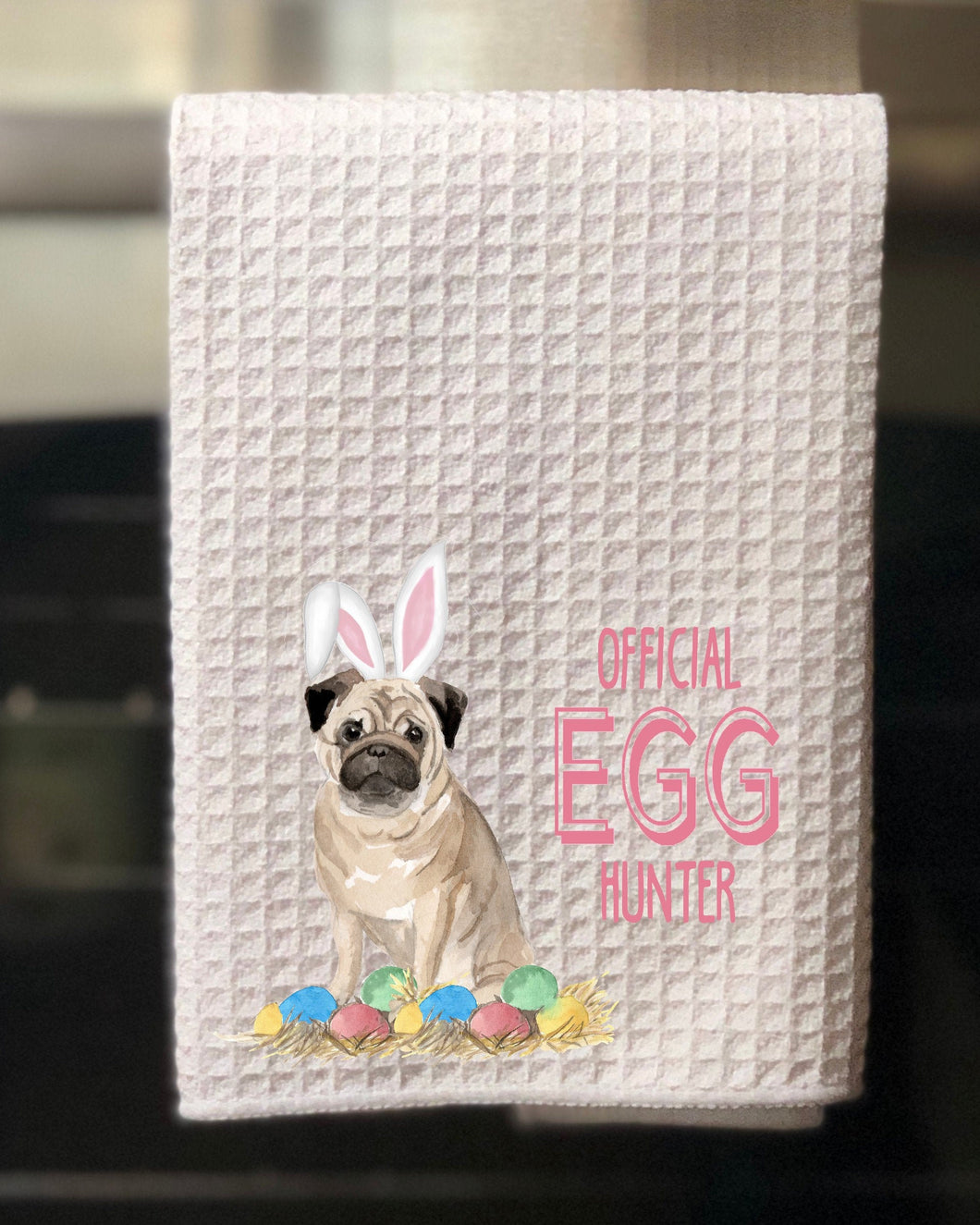 "Pug Official Egg Hunter Easter Kitchen Waffle Towel -15""x25"", Hostess Gift, Spring Towel"