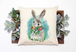 "Bunny Pillow Linen Pillow Cover for Easter - 15.75""x15.75"""
