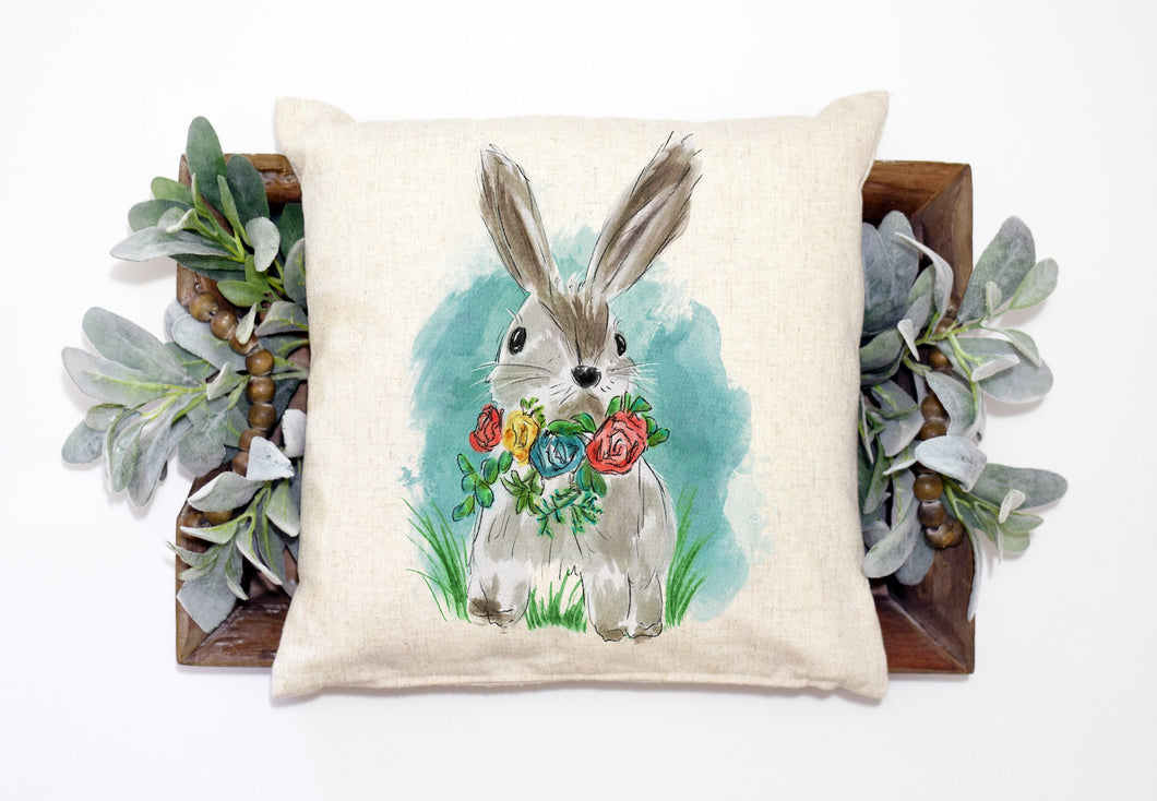 Bunny Pillow Linen Pillow Cover for Easter - 15.75