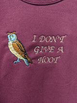 """I Don't Give A Hoot"" Embroidered Sweatshirt"