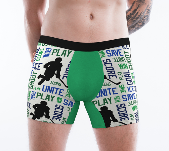For the Love of Hockey Boxer Briefs - Blue & Green