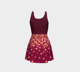 Falling Leaves Flare Dress with Burgundy Bodice