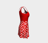 All About the Dots Flare Dress - Red with Solid Red Bodice