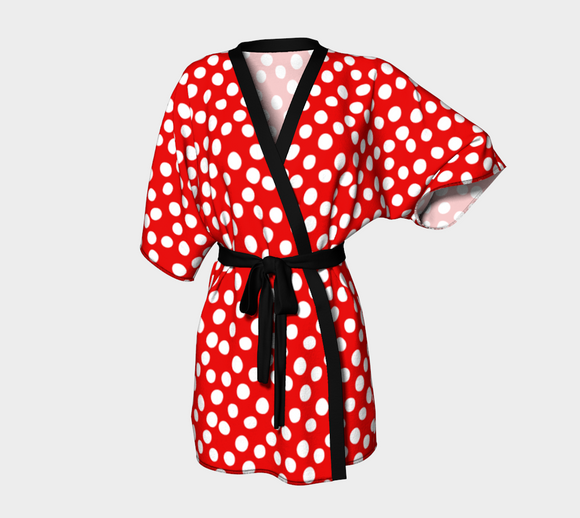 All About the Dots Kimono Robe - Red