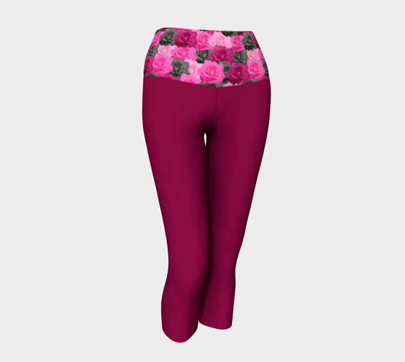 Maroon Yoga Capris with Pink Roses Band