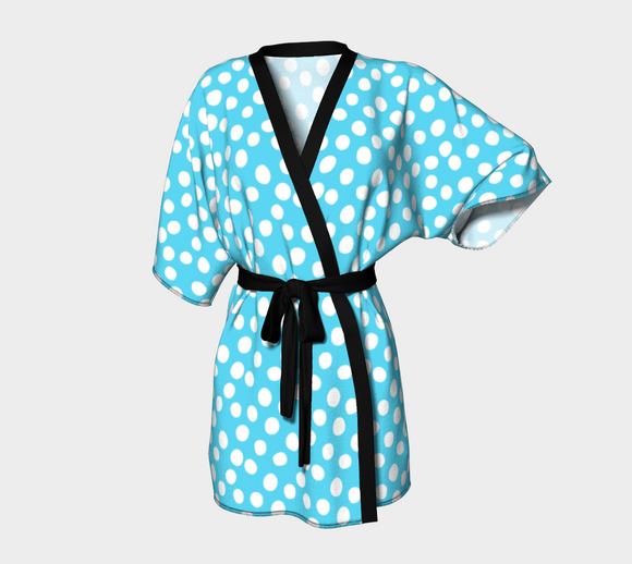 All About the Dots Kimono Robe - Blue