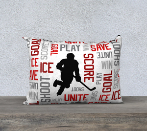 "For the Love of Hockey Pillow Case - 20""x14"" - Red"