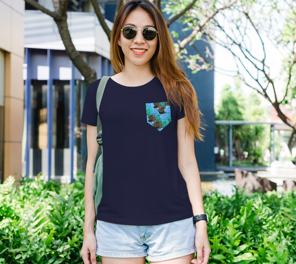 Blue Roses Pocket Women's Fitted Tee