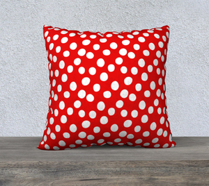 "All About the Dots Pillow Case - 22""x22"" Red"