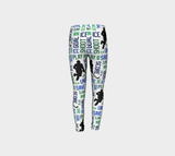 For the Love of Hockey Youth Leggings - Blue and Green