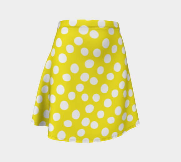 All About the Dots Flare Skirt - Yellow