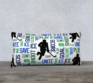 "For the Love of Hockey Pillow Case - 24""x12"" - Blue and Green"