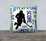 "For the Love of Hockey Pillow Case - 22""x22"" - Customizable"