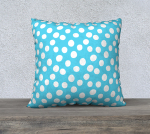 "All About the Dots Pillow Case - 22""x22"" Blue"