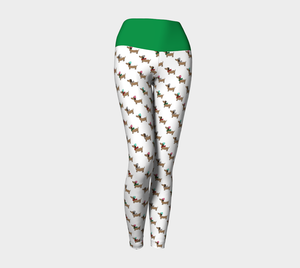 Dachshund Through the Snow Yoga Leggings with Green Band
