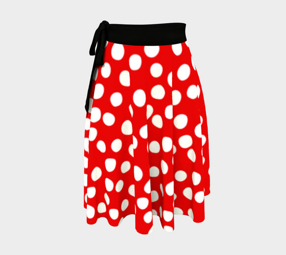 All About the Dots Wrap Skirt - Red